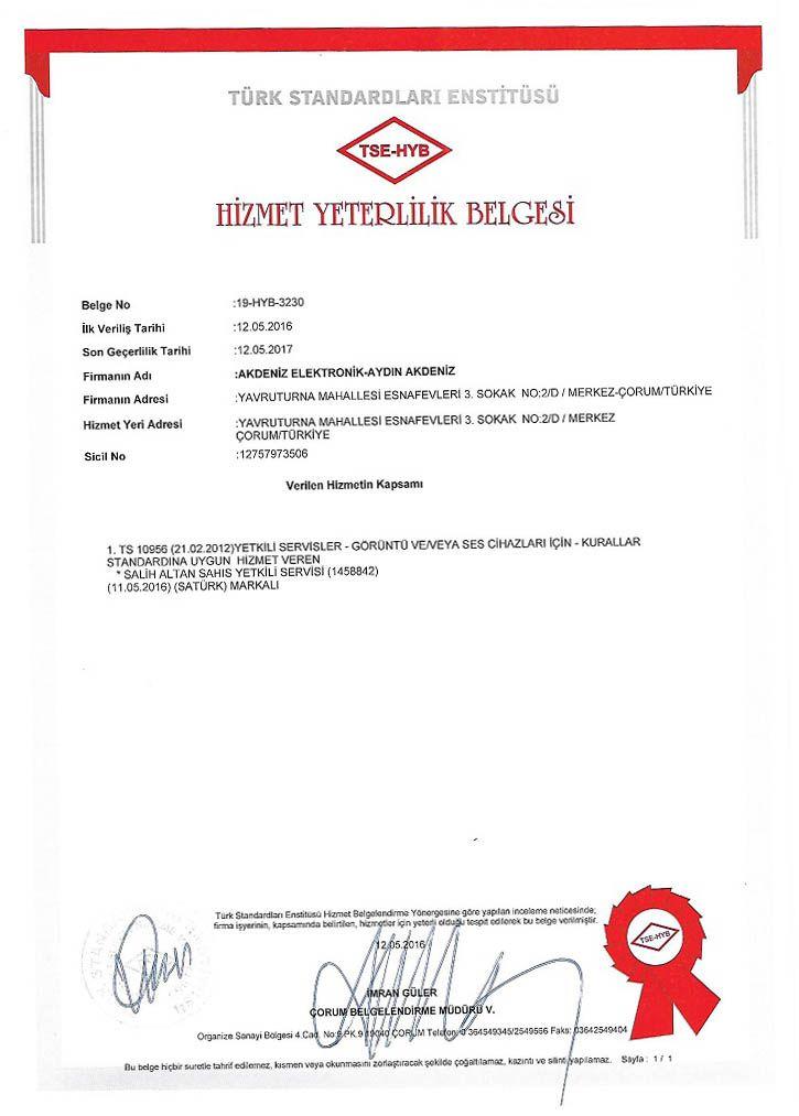 TSE HY Belgesi